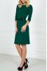 Офисное темно-зеленое платье с пояском - фото 1