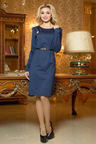 Офисное темно-синее платье с поясом