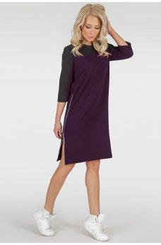 Оригинальное платье цвета марсала свободного кроя