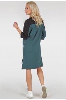 Оригинальное платье цвета морской волны свободного кроя