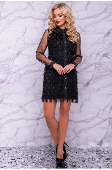 Оригинальное платье рубашка черного цвета