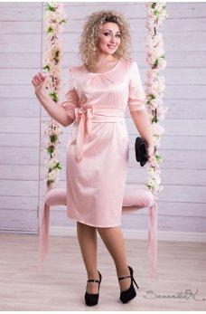Нарядное персиковое платье из атласа