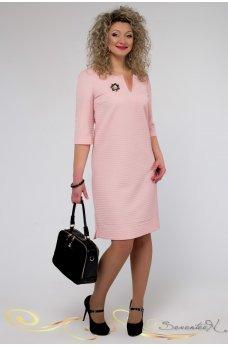 Элегантное персиковое платье жаккард
