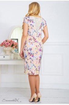 Персиковое платье в цветы с гипюровой спинкой