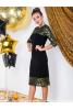 Платье футляр с гипюром и паетками