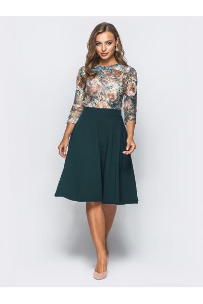 Платье миди с зеленым низом