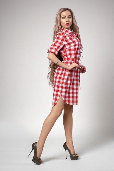 Платье-рубашка в крупную красную клетку