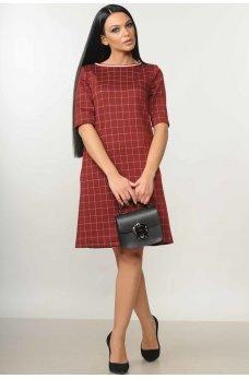 Платье-трапеция бордового цвета в клеточку
