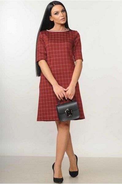 Платье-трапеция бордового цвета в  принт клеточка