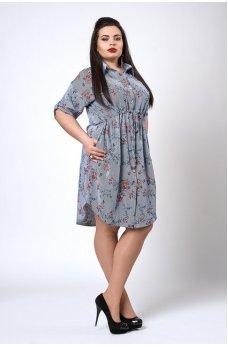 Платье в синюю полоску и цветочек