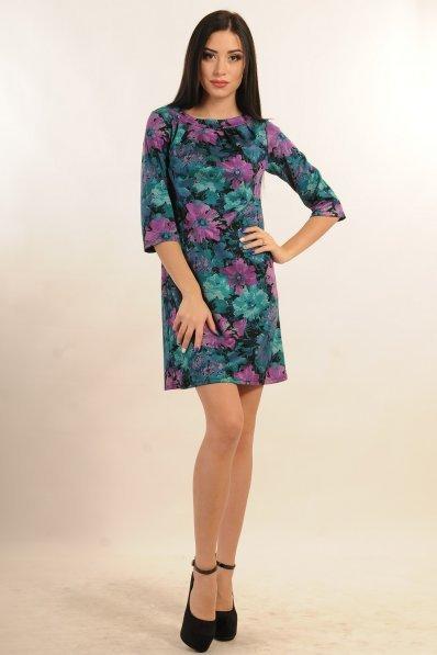 Бирюзовое платье А силуэта с цветочным принтом
