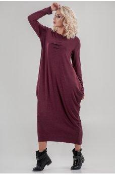 Оригинальное платье балахон бордового цвета