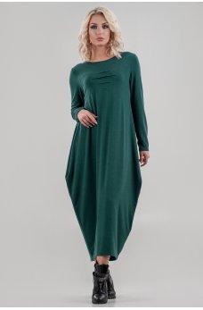 Оригинальное платье балахон изумрудного цвета