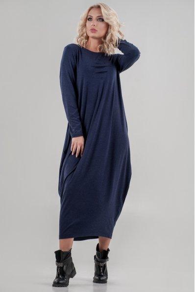 Оригинальное платье балахон синее