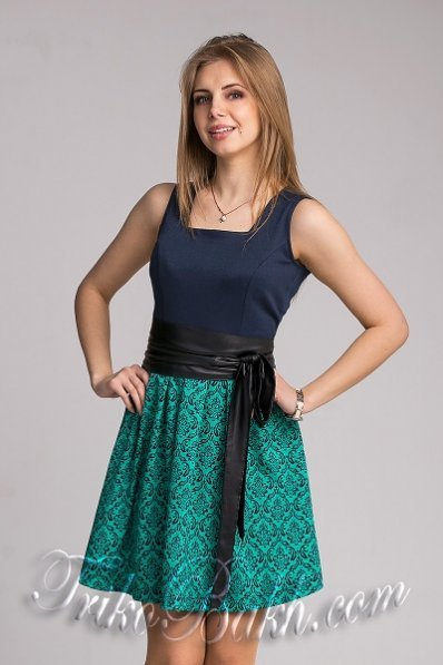 Бірюзово-синє плаття без рукавів
