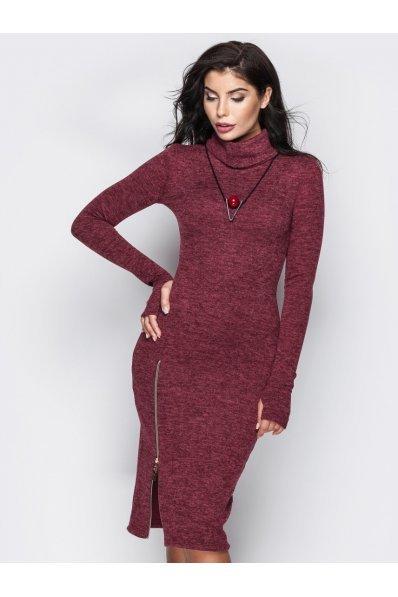 Теплое платье бордо с молнией