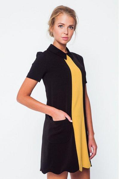 Платье А-силуэта черно-желтое