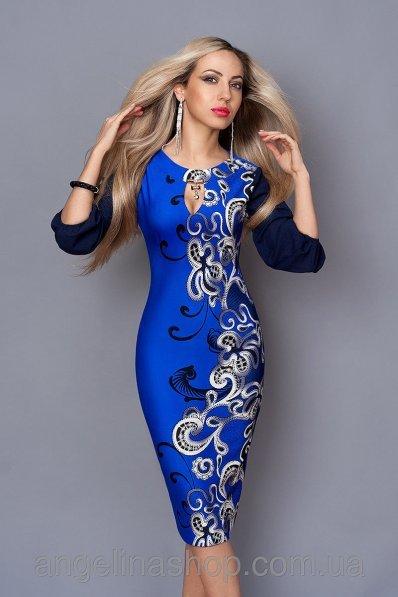 Платье электрик с рисунком и синими рукавами