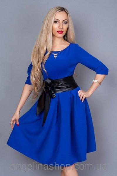 Платье электрик с пышной юбкой
