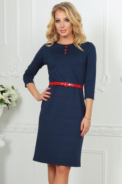 Платье футляр с красным поясом