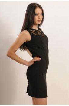 Черное мини-платье футляр с кружевом