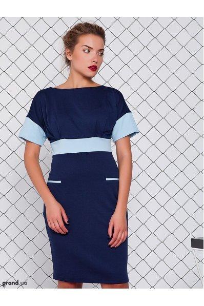 Платье с голубой отделкой