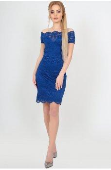 Нарядное платье из гипюра цвета электрик