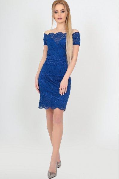 Нарядне плаття із гіпюра яскраво-синього кольору