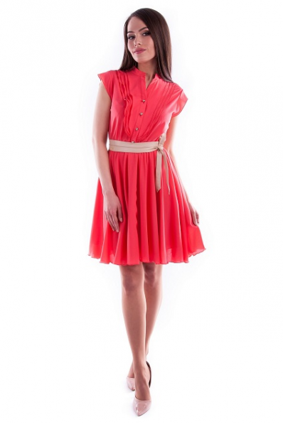 Коралловое платье шифон