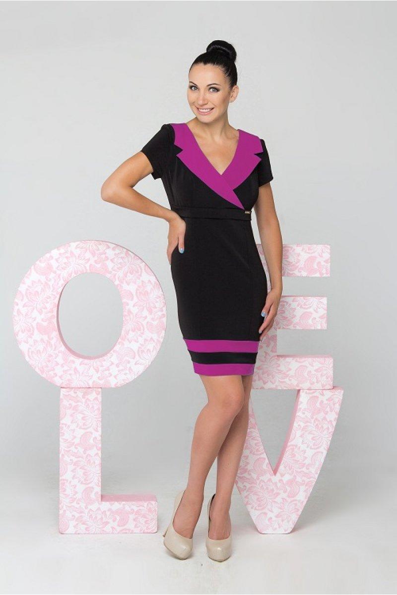 e3799945f600a18 Купить платье - Черное платье с малиновой отделкой