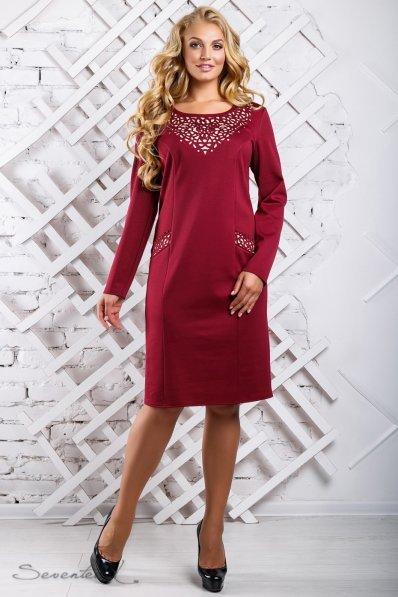 Стильное свободное платье марсала с перфорацией
