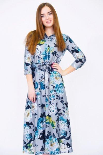Голубое платье миди с цветочным принтом