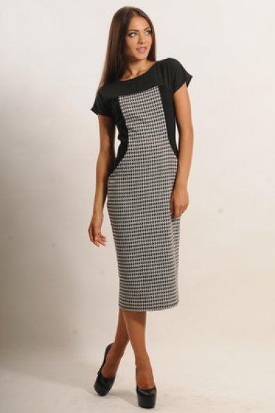 Платье миди с принтом гусиная лапка