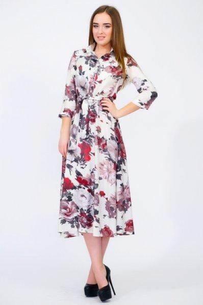 Молочное платье миди с цветочным принтом