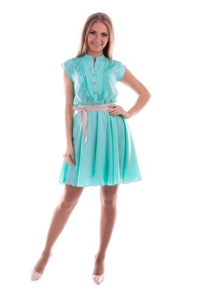 Мятное платье шифон