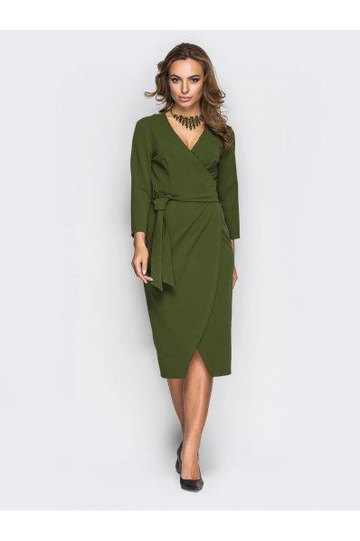 Платье на запАх оливкого цвета