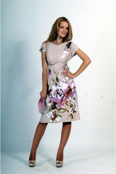 Романтичное платье с принтом Орхидеи