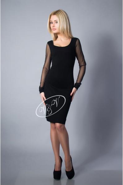 Черное платье с прозрачной спиной