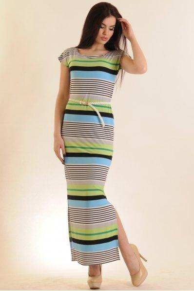 Длинное платье в полоску салатовое