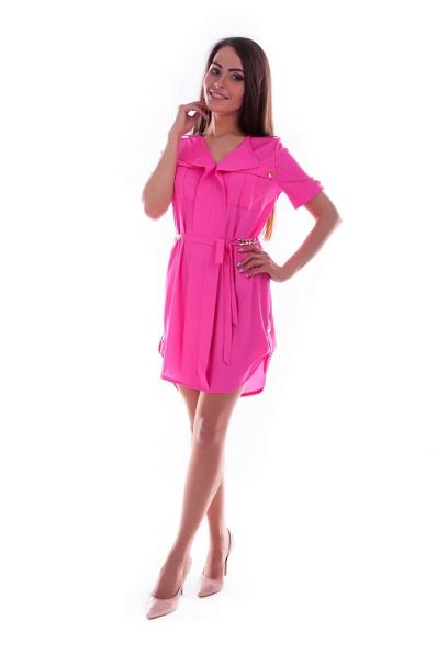 Яркое розовое платье из креп-шифона