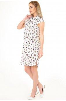 Платье рубашка белая с принтом