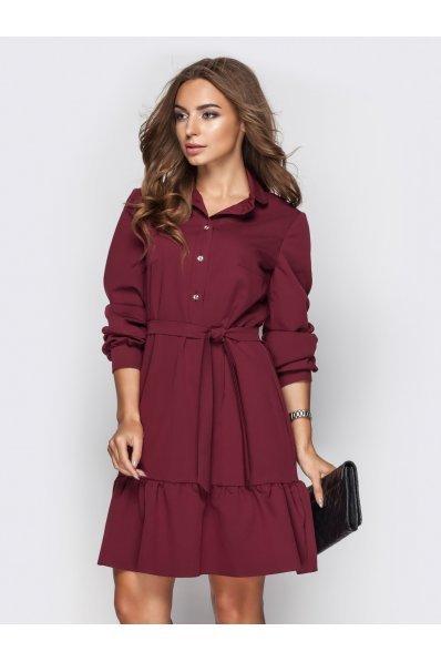 Платье рубашка бордо с поясом