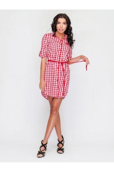 Стильное платье рубашка в красно-белую клетку
