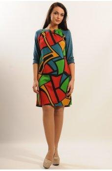 Платье с геометрическим принтом и рукавами из замши