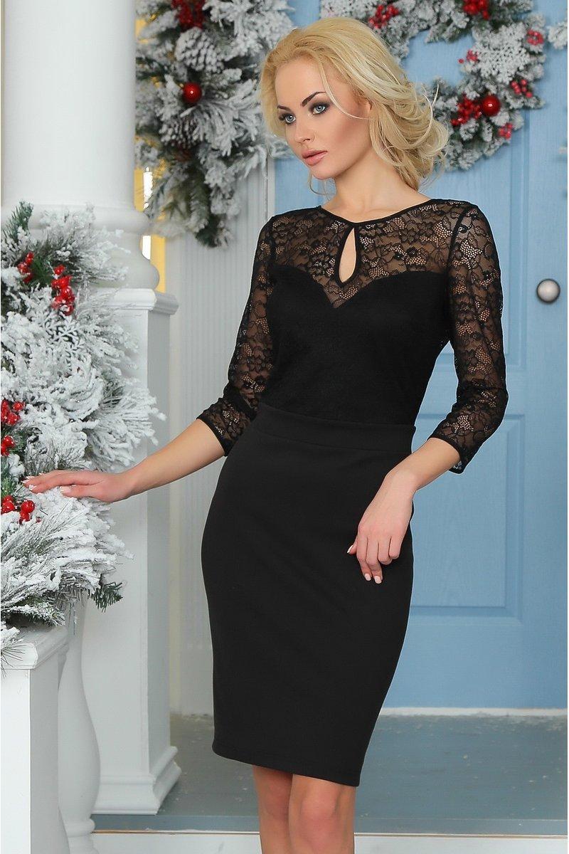 7959290a1 Маленьке чорне плаття з гіпюровою вставкою