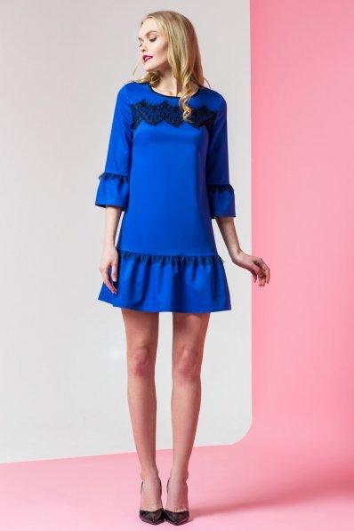 Платье электрик с объемными манжетами