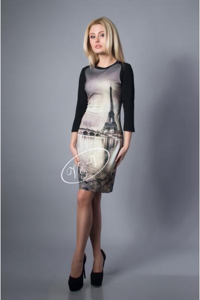 Платье с фотопринтом Париж