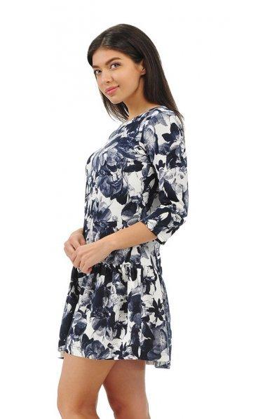 Кокетливое платье с принтом деним