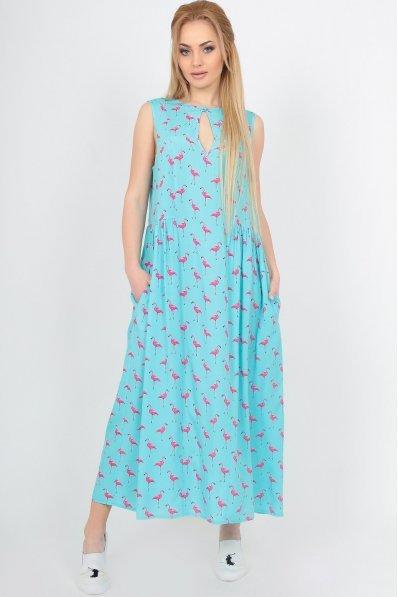 Летнее свободное платье с принтом фламинго