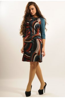 Платье с принтом абстрация и рукавами из замши